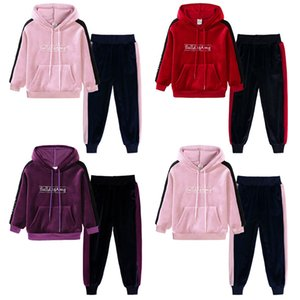 Wholesale Retail kids designer tracksuits girls gold velvet hooded Suits Set Fashion sport sets baby girl winter outfits children clothing