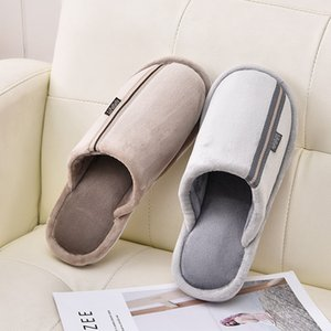 Wholesale KESMALL Men Home Slippers Winter Warm Men Plush Thick Bottom Floor Slippers Indoor Soft Anti slip Folck Mules Size Shoes