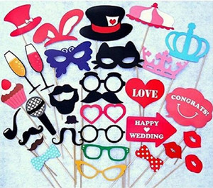 Wholesale 34PCS set Wedding Photo Booth Props Party Decorations New catglass Supplies Mask Mustache for Fun Favors photobooth photocall