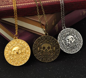 Wholesale Vintage Bronze Gold Coin Pirate Charms Aztec Coin Necklace Men s Movie Pendant Necklaces for Lady Xmas Gift Fashion Jewelry