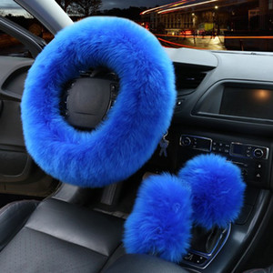 Wholesale Spring Autumn Winter Universal Car Furry Steering Wheel Cover Woolen Gear Knob Shifter Brake