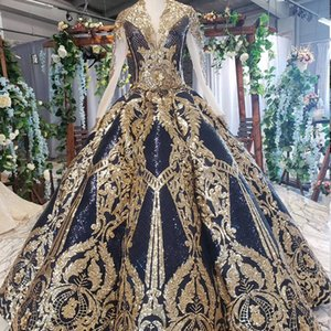 evening dresses 2019 autumn latest v neck long tulle sleeve lace up back gold sequins applique pattern Abendkleider swollen garden ball gown on Sale