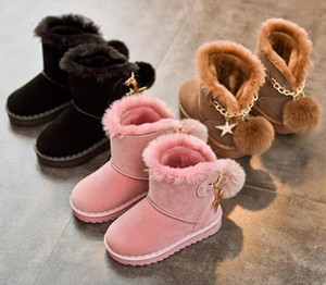 Wholesale Girls Snow Boots Winter Warm Flat Round Toe Kids Sport Shoes Baby Children's Pink Black Soft Martin Boots Size 27-37 Sneakers T191015