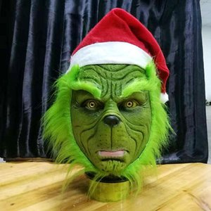 Wholesale Bauta Mask Funny Grinch Stole Christmas Cosplay Party Mask Hat XMAS Full Head Latex Mask With Further Adult Costume Grinch Props