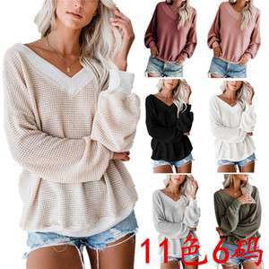 Wholesale Autumn Blouses Spring Women s V neck Long Sleeves Loose T Shirt Large Size Tshirt Clothing Tops women clothes womens designer t shirts