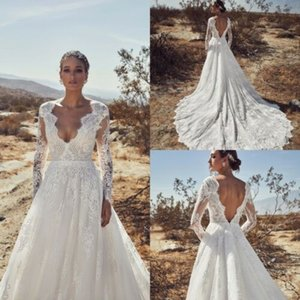 Wholesale plus size hot model for sale - Group buy 2020 Elegant Beach Long Sleeves Wedding Dresses V Back Train Lace Bridal Gown A line Plus Size Hot Sale
