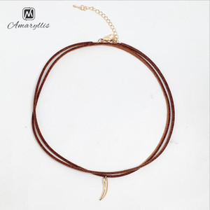 Wholesale Amaiyllis Mini Alloy Horn Pendant Choker Necklace For Women Small Charm Leather Choker Collar Black Brown Clavicle Neck Chain