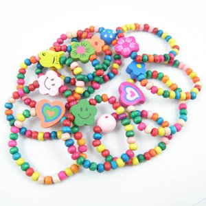 Wholesale Candy Color wood kids bracelet flower rainbow girls bracelet children toy designer accessories cute baby accessories set A6466