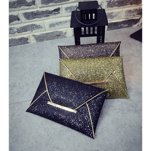 Wholesale designer womens sequins envelope bag evening party purse clutch handbag black gold Messenger bags luxury purse Clutch Handbag colors a48d