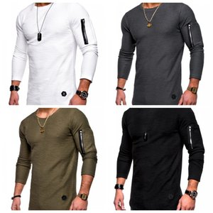 Wholesale Round Collar Long Sleeves T Shirt Solid Color Arm Zipper Splicing Bottoming Shirt Man Outdoor Running T Shirts Personality ysH1