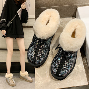 Wholesale Women Snow Boots crystal cute lace up winter Warm Plush wedges platform botas mujer leisure furry ladies Shoes winter