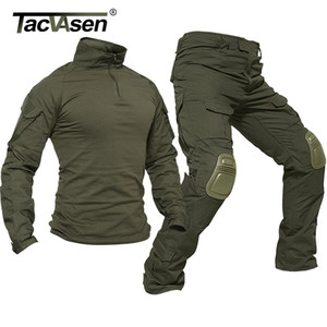 Wholesale TACVASEN Tactical Uniforms Men Rip stop Camouflage Military Clothing Sets Airsoft Paintball Combat Security Suits Hunt Clothes SH190908