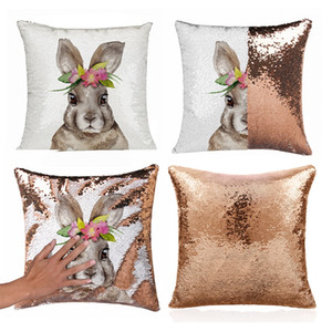 Wholesale Easter Rabbit Sequins Pillow Set Square Unicorn Egg Pillowslip Shine Pillowcase cm Cartoon Printed Cushion Cover Hot Sale jsb1