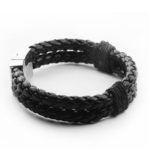 Vintage Braided Leather Charm Cuff Bracelets Men Male Sporty Jewelry Double-layers Unique Handcuffs Chain Link Bracelets Bangles