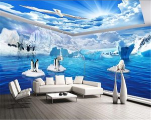 ingrosso 3d wallpaper murale sfondo ocean-Foto D Wallpaper Fantasy Bella Polar Ocean Pinguino Polar Bear Theme Pavilion Mural Wall Paper