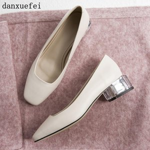 Wholesale Women s genuine leather slip on pumps low heel comfortable autumn new female high heeled dress shoes high quality ladies shoes