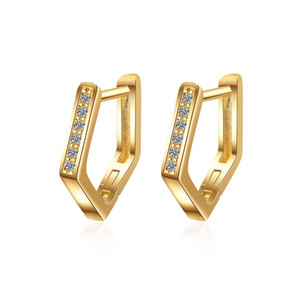 Wholesale EH362 Fashion New Jewelry Earrings Gold Colors women designer pentagon mount white crystal Valentine's Day Gifts