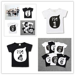 Wholesale tshirts boys resale online - Childs Summer T Shirt for Toddler Kids Boys Girls Short Sleeve Tshirts I AM1 Number Print Tees Sports Tops Tee Family Brother Cloth D3303