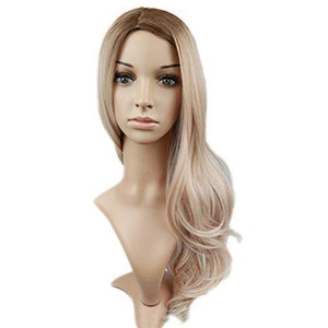 Wholesale Factory price pc Women Fashion Lady Gold Long Wave Curly Hairstyle Synthetic Hair cm Costume Cosplay Wigs Stand Stocked Feb15
