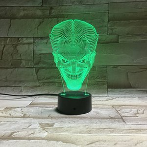 Wholesale Joker D LED Night Light Colorful Acrylic Joker USB LED Table Lamp Creative Action Figure Lighting Toys Gifts for Boys