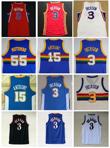 Top Quality #55 Dikembe Mutombo Jerseys Cheap #3 Allen Iverson Jersey #15 Carmelo Anthony Jersey Red Blue White Stitched Shirts on Sale