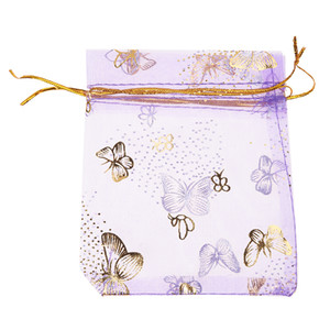 100pcs Butterfly Drawstring Organza Wedding Gift Jewellery Candy Pouch Bags purple