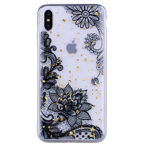 Wholesale Lace Sequin Case For Iphone XS MAX XR X Foil Bling Cartoon Luxury Sequin Foil Soft TPU Flower Butterfly Confetti Flake Cover