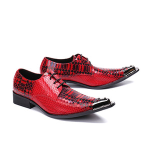 Red Oxford Leather Men's Shoes Flat Rivet Embroidered Pattern Features Shoes Comfortable Wedding Dress Bar Professional