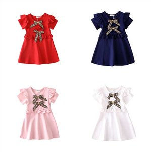 Wholesale Baby Girls Dress Summer Fashion Short sleeve Round collar dress letter print bowtie girl s high quality cotton dress colors