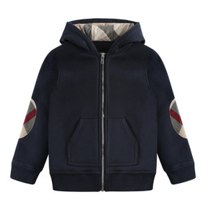 Wholesale Autumn and winter new cotton boy lapel zipper thick warm hooded cotton children's plaid hooded navy blue (3-8T)
