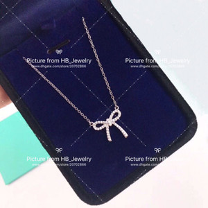 Wholesale Have stamps STERLING SILVER Full Diamond designer Bow necklace for lady Design Women Party Wedding engagement Luxury Jewelry for Bride
