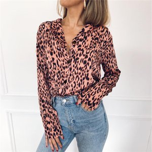 Wholesale 2019 Women Leopard Chiffon Blouses Spring Summer Fashion Turn Down Collar Shirts Long Sleeved Sexy V neck Tees Shirt
