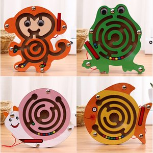 Magnetic pen maze ball games wooden children's magnetic pen ball walking puzzle toys 4-piece combination