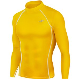 Wholesale Newest Men s Skin Tight Compression Base Layer Yellow Running Long and Short Shirts