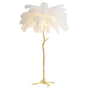 Feather floor lamp living room bedroom bedside American light  net red ostrich feather copper floor lamp Nordic decoration