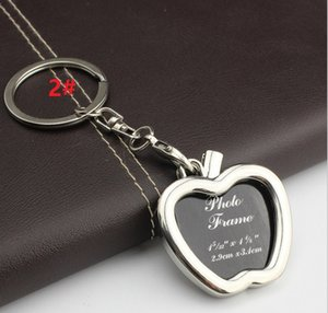 Wholesale HYS71 Photo Frame Round Heart Apple Oval Rhombus Shape Metal Alloy Keychain Creative mini Car Keychains Couples Keyring Gift DHL