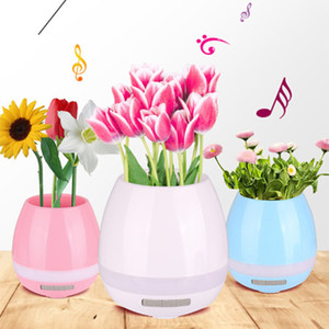Wholesale FDR pc Color Plastic Music Flower Pot Vase Planter LED Night Light Bluetooth Speaker Home Garden Office Supplies Decoration