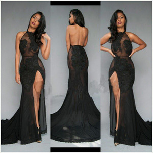 Wholesale 2019 Sexy Black White Mermaid Prom Dresses Halter Neck Lace Appliques See Through Backles Highi Side Split Formal Evening Gowns Custom