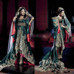 Wholesale Dark Green India Saudi Arabian robe Long Sleeves Sweetheart Evening Dresses Hunter Green With Lace Appliques Muslim Evening Gowns