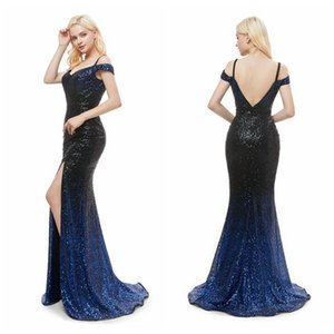 Wholesale MG008 Nigeria Spaghetti Straps Cap Sleeve Ombre Prom Dresses Open Back Sexy Party Dresses with Slit Long Dresses for Women Party Wear