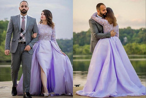 2020 Fashion Hot Lavender Evening Formal Dresses Plus size Saudi Arabic Cheap Mermaid Slit Detachable Train Satin Long Prom Party Dress on Sale