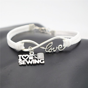 Wholesale Antique Silver White Leather Cord Infinity Love I Heart Sewing Machine Charm Bracelets Bangles Charm Fashion Women Men Friendships Jewelry