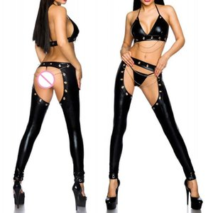 Sexy Women Wetlook Catsuit PU Leather Bra+Open Crotch Pants 2PCS Outfit Sets Party Stege Dance Clubwear Women Lingerie Set