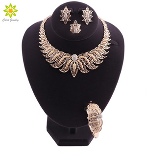 Wholesale Women Jewelry Sets Gold Plated Dubai Necklace Earrings Bracelet Ring in Nigerian Wedding Set Bridal Crystal Turkish Jewelry