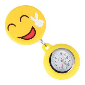 Wholesale Unique Ornamental Smiling Face Silicone Nurse Pocket Watch Retractable Rope with Stainless Steel Clip Luminous Function Pendant Watches