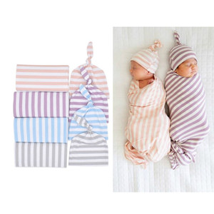 Wholesale New Cotton Baby Blankets Printed Newborn Infant Baby Boy Girl Sleeping Swaddle Muslin Wrap Hat