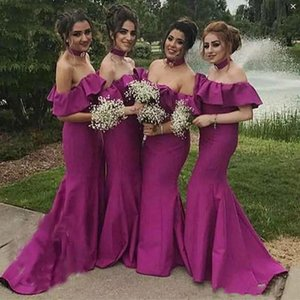 Wholesale fushia wedding dresses for sale - Group buy Dark Fushia Mermaid Bridesmaid Dresses For Wedding Off The Shoulder Satin Maid Of Honor Gowns Sweep Train Bridesmaid Dress Cheap B58