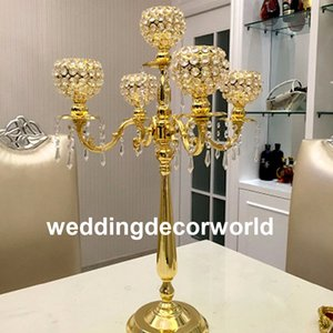 Wholesale pillars for candles for sale - Group buy New Display Flower Stand Candle Holder Road Lead Table Centerpieces Metal Gold Stand Pillar Candlestick For Wedding Candelabra decor0