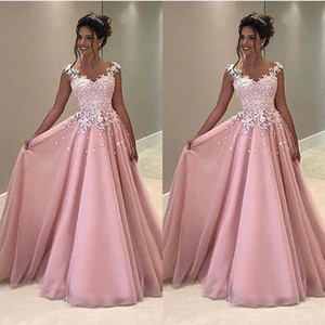 Wholesale 2020 Vintage A Line Pink Prom Dresses Lace Applique Cap Sleeve Sheer Back Evening Dresses Formal Party Gowns Cheap Long Dresses