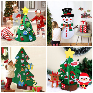 Wholesale felt ornaments resale online - OurWarm Kids DIY Felt Christmas Tree Snowman with Ornaments Handmade Fake Christmas Tree New Year Toys for Kids DIY Crafts